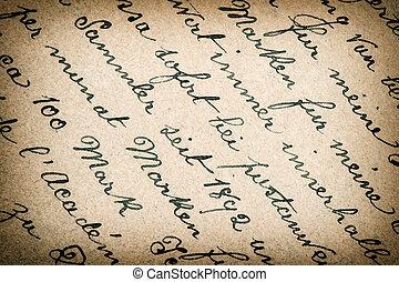 öreg, szüret, dolgozat, vignette., háttér, szöveg, kézírásos