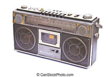 öreg, szüret, elszigetelt, rádió, háttér, fehér