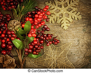 öreg, szüret, felett, dekoráció, erdő, tervezés, háttér, határ, karácsony