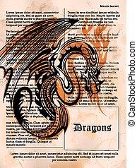 öreg, szüret, sárkány, könyv, dühös, rajz, oldal