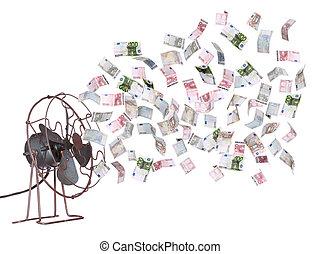 öreg, szellőztető, és, európai, banknotes