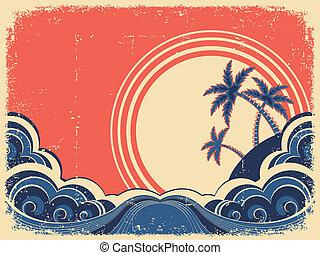 öreg, sziget, ábra, tropikus, dolgozat, grunge, palms.vector
