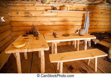 öreg, szoba, étkező, paraszt, fülke, fahasáb