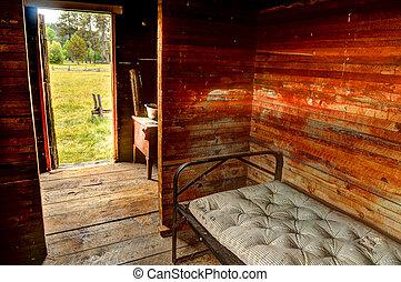 öreg, szoba, keret, fém, ágy, matrac