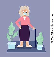 öreg, szoba, törődik, eleven, öregedő woman