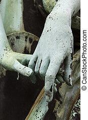 öreg, szobor, emberek, két, hatalom kezezés, bronz