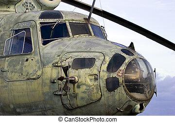 öreg, szovjet-, helikopter