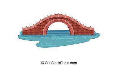 öreg, tégla, bridzs, felett, kék, river., bolthajtás, footbridge., táj, elem, helyett, város, park., építészet, theme., lakás, vektor, tervezés