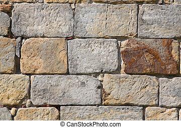 öreg, tégla, kőfal, háttér