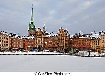 öreg, tél, town.