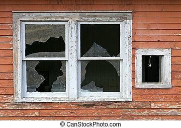 öreg, törött, ablak