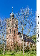 öreg templom, alatt, a, falu, közül, noordwolde