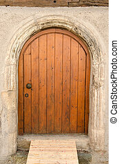 öreg, tuebingen, fából való, németország, bejárati ajtó