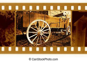 öreg, usa, fénykép keret, kordé, 35mm, retro