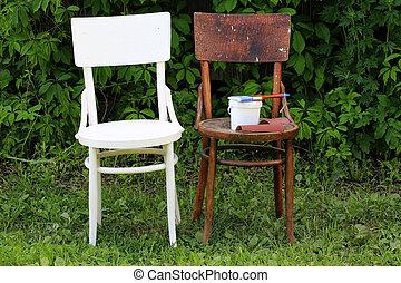 öreg, után, restaurálás, szék, festmény, előbb
