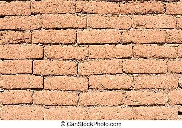 öreg, vályogtégla, wall.