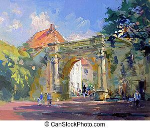 öreg város, táj, festmény