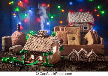 öreg, varázslatos, műhely, villaház, gyömbéres mézeskalács, karácsony