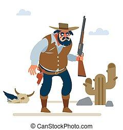öreg, vektor, ábra, cowboy, nyugat, nagy, fehér, háttér., lakás, karikatúra, vad