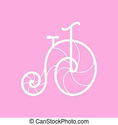 öreg, vektor, bicikli, retro