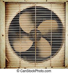 öreg, ventiláció, rajongó, koszos