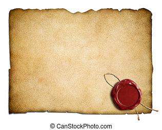 öreg, viasz, elszigetelt, pergament, dolgozat, levél, fóka, vagy, piros