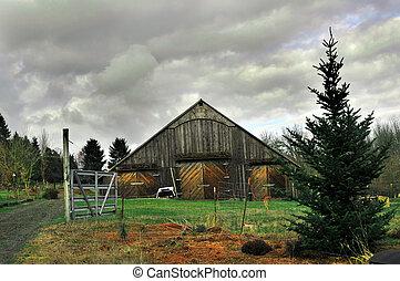 öreg, vidéki, ország, fából való, istálló, noha, fa, és, kocsifelhajtó