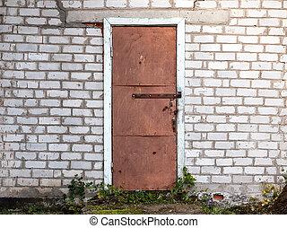 öreg, viharvert, wall., ajtó, tégla, istálló
