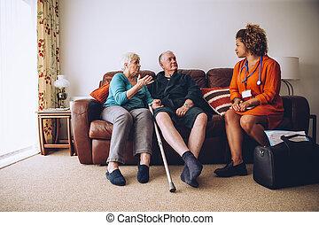 öregedő összekapcsol, noha, otthon, carer