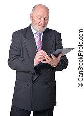 öregedő, üzletember, csipeszes írótábla