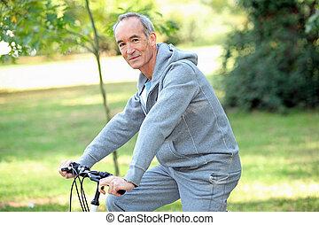 öregedő bábu, lovaglás, övé, bicikli