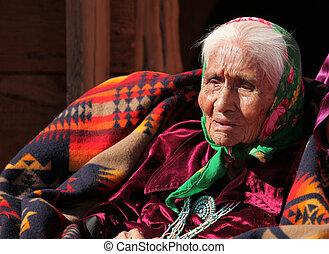 öregedő, bennszülött american, nő