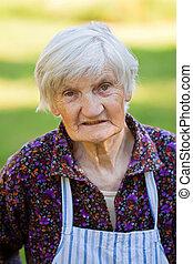 öregedő, elhagyott, nő, alatt, a, természet