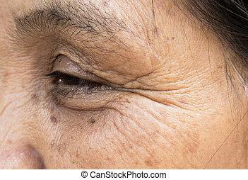öregedő, fogalom, öreg, arc, closeup, bőr, nők, ránc, törődik