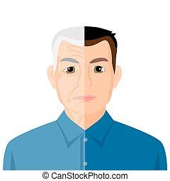 öregedő, fogalom, eljárás, kiállítás, fiatal, portré, idősebb ember