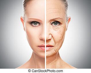 öregedő, fogalom, törődik, bőr