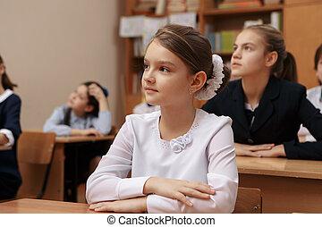 öregedő, kérdezés, chalkboard, diák, mosolygós, tanár