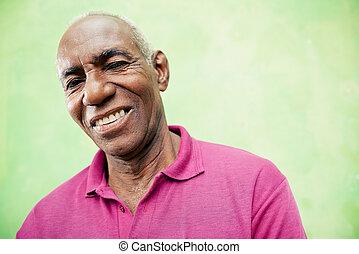 öregedő, látszó, fényképezőgép, fekete, portré, mosolyog...