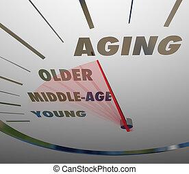 öregedő, sebességmérő, gyorsan, haladó, életkor, fiatal, fordíts, öreg