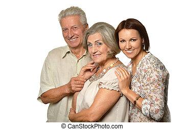 öregedő, szülők, noha, lány