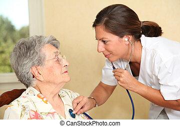 öregedő személy, noha, ápoló