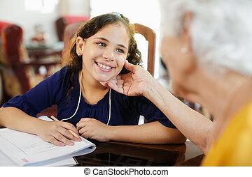 öregedő woman, ételadag, kicsi lány, cselekedet, izbogis, lecke