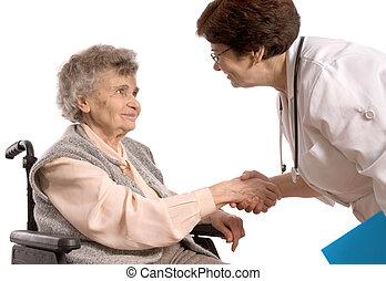 öregedő woman, alatt, tolószék