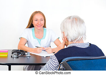 öregedő woman, -ban, orvos