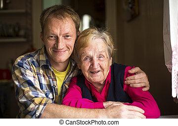 öregedő woman, noha, felnőtt, fiúunoka