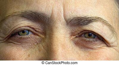 öregedő, womans, szemek