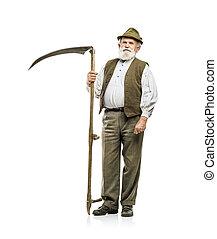 öregember, noha, kaszál, elszigetelt