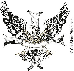 örn, emblem, av, kors, fleur, läsidor