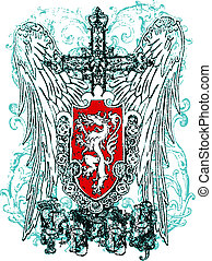 örn, heraldisk, hjälmbuske, kors