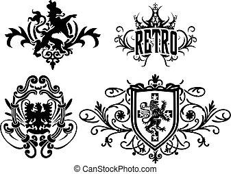 örn, heraldisk, hjälmbuske